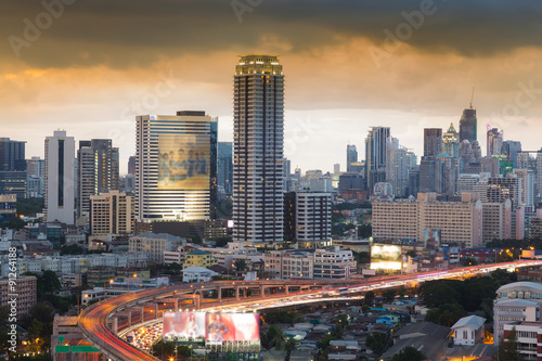 Photo Stands Beijing Central business area with freeway at front before sunset, Bangkok Thailand