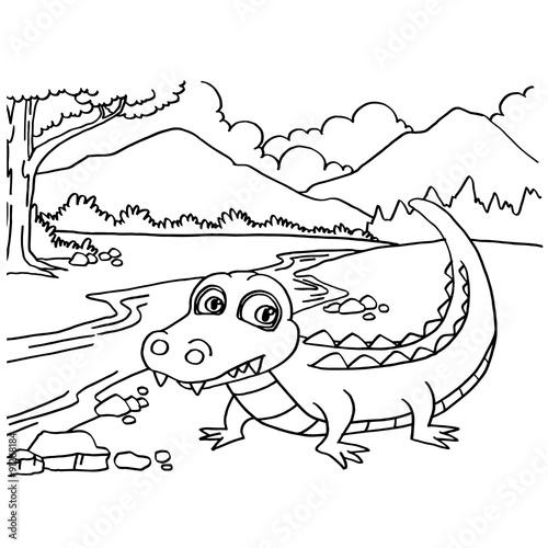 Crocodile Coloring Pages Vector Kaufen Sie Diese Vektorgrafik Und