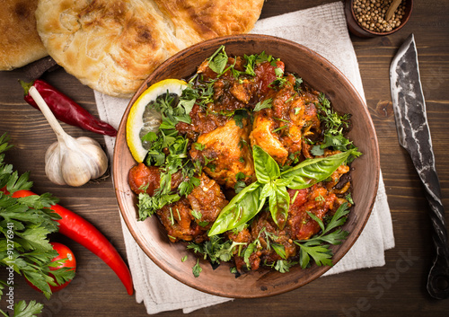obraz dibond Chakhokhbili Chicken stewed with tomatoes and herbs above