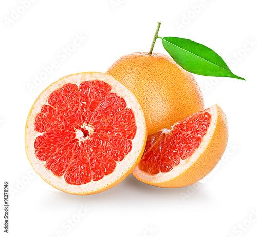 Grapefruits isolated on white background