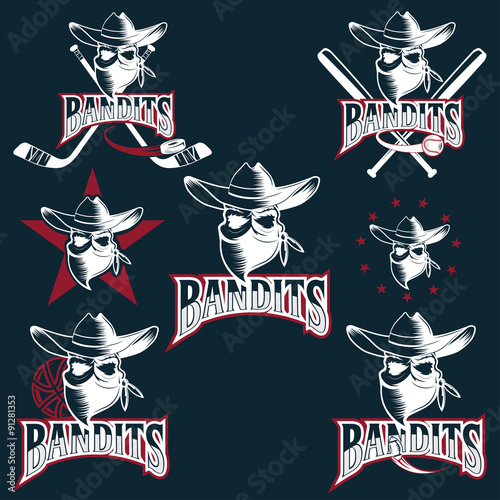 Photo  set of skull bandit sports labels