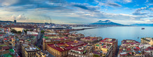 Panorama Of Naples, View Of The Port In The Gulf Of Naples And Mount Vesuvius. The Province Of Campania. Italy.