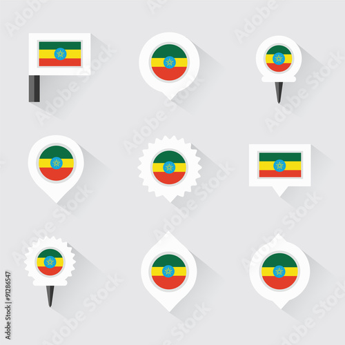 ethiopia flag and pins for infographic, and map design - Buy