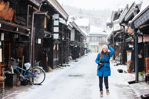 Poster Marron chocolat Woman in Takayama town