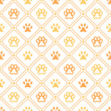 Animal Seamless  Pattern Of Paw Footprint, Line And Dot