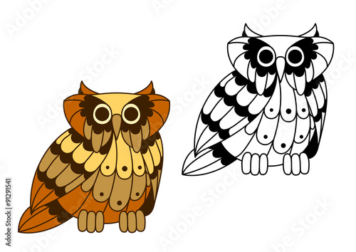 Cartoon isolated owl bird character Billede på lærred
