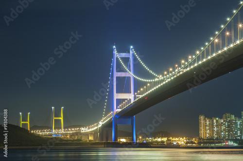 Tsing Ma bridge in Hong Kong at night Poster