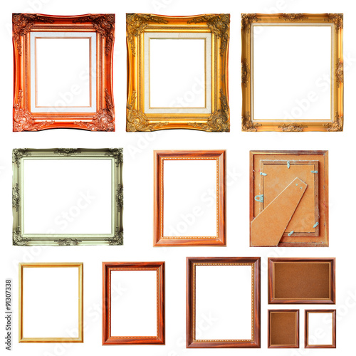 Set Of Vintage Picture Frames Isolated On White Background For Put