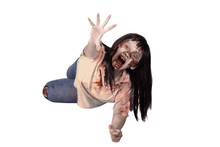 Female Zombie Crouching On The Floor