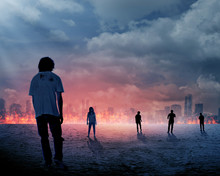 Group Of Zombie Over Burn City...