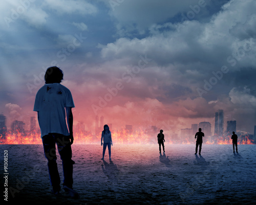 Photo  Group of zombie over burn city background