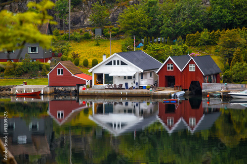 traditional norwegian wooden house #91309573