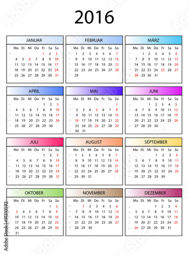 Kalender 2016 bunte Monate - Buy this stock vector and ...