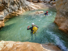 Canyoning In Barranco Oscuros, Sierra De Guara, Aragon, Spain