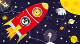 zwierzęta i rakieta na tle planet i gwiazd / kosmos