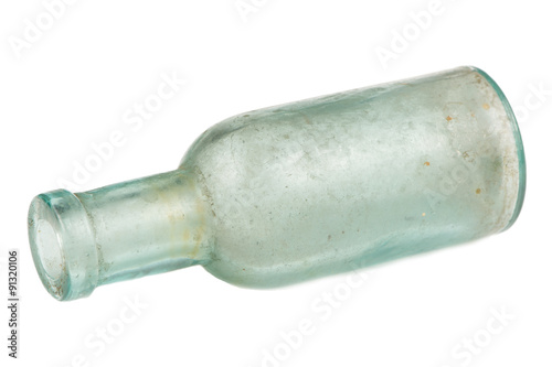 Poster Alcool Old Glass Bottle Isolated on White Background