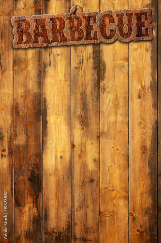 In de dag Grill / Barbecue barbecue label nailed to a wooden background