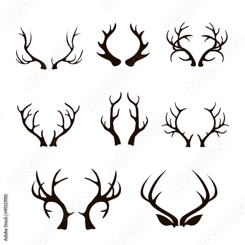 deer antlers silhouette isolated on white.  Wall mural