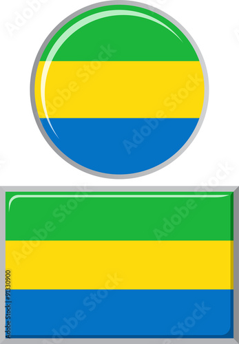 Fotografie, Obraz  Gabonese round and square icon flag. Vector illustration.