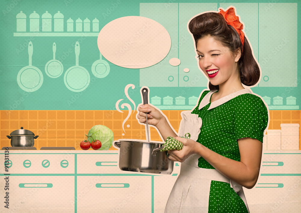 Fototapety, obrazy: Young housewife cooking soup in her kitchen room with speech bub