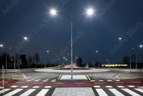 Valokuva  Roundabout illuminated by led lights  at twilight