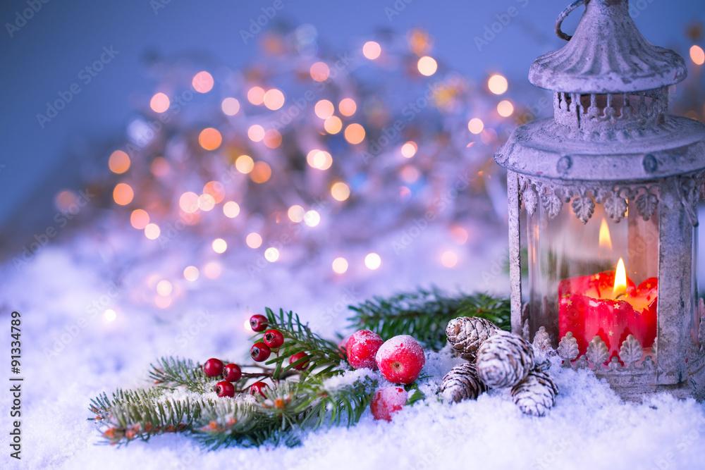 Weihnachten Hintergrund.Weihnachten Hintergrund Laterne Mit Geschmückten Tannenzweig In