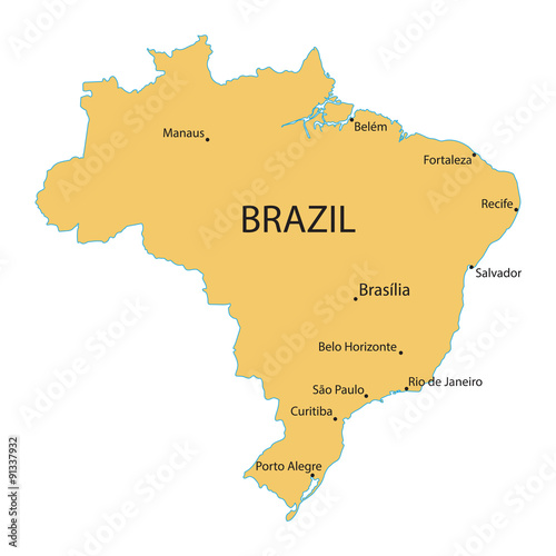 map of Brazil with indication of largest cities - Buy this stock ...