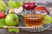 Apples With A Bowl With Honey ...
