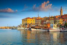 Stunning Sunset With Rovinj Harbor,Istria Region,Croatia,Europe