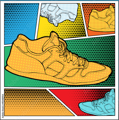 Obraz na plátně Sneakers in Pop-Art Style