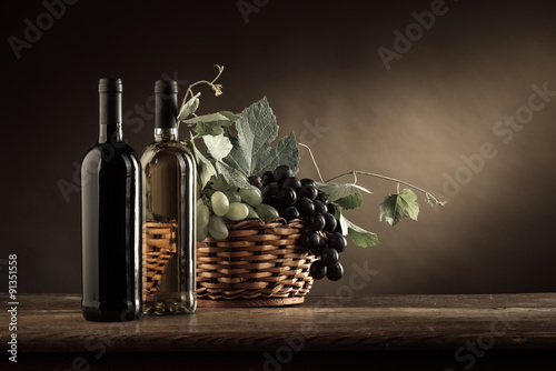 Wine tasting and fruit still life - 91351558