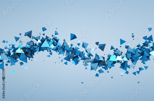 Abstract 3D Rendering of Flying Particles. - 91357391