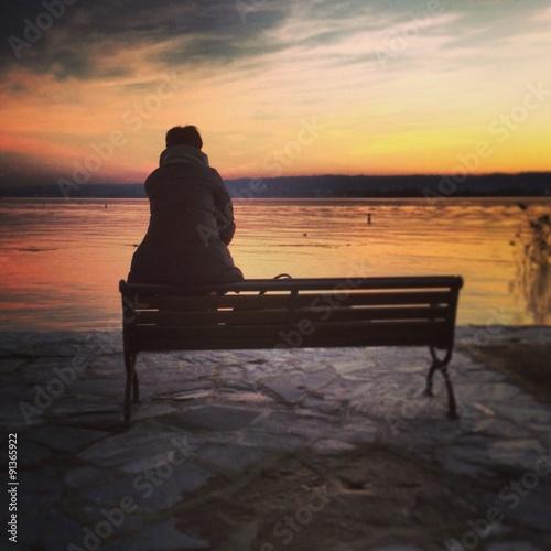Valokuva  Sunset on the lake