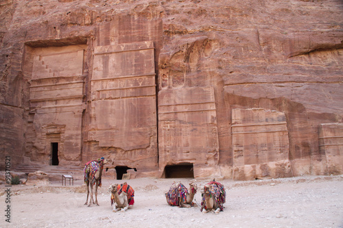 In de dag Midden Oosten Nabatean tombs carved into solid rock with camels waiting to give rides to tourists.Petra,Jordan