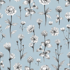 Panel SzklanyWild flowers illustration. Seamless pattern
