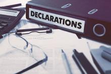 Declarations On Ring Binder. Blured, Toned Image.