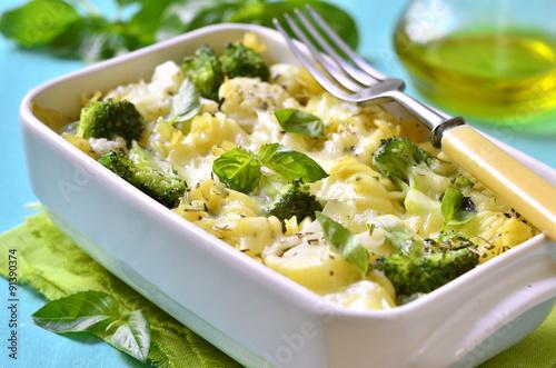 Pasta casserole with broccoli,cauliflower and cheese.