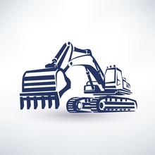 Excavator Symbol, Stylized Vec...