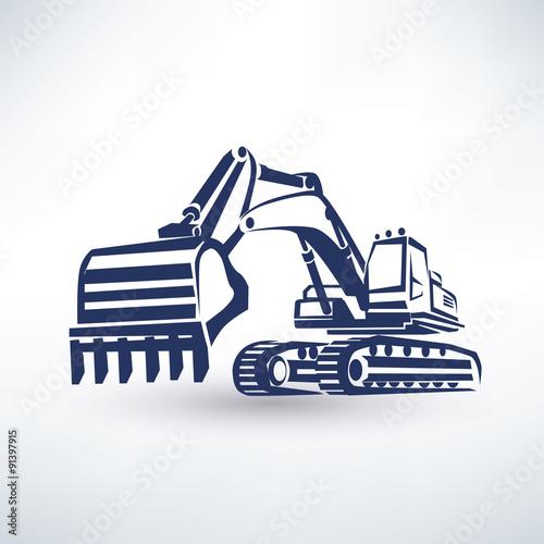 Stampa su Tela excavator symbol, stylized vector silhouette