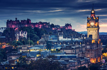 Edinburgh Castle And Cityscape...