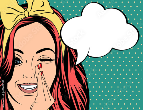 Photo  Pop Art illustration of girl with the speech bubble