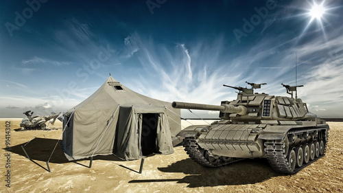 фотографія  Tank in the desert camp