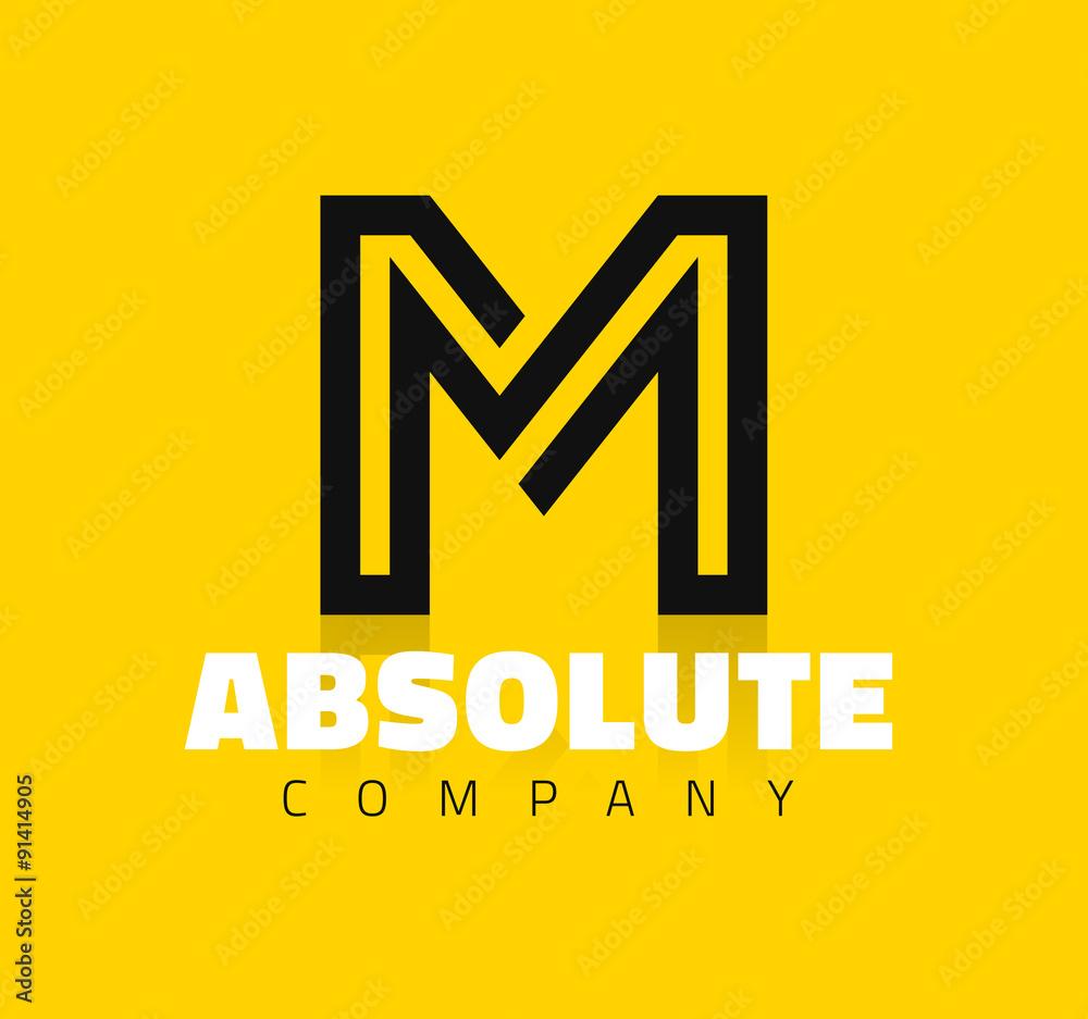 Fotografía Vector símbolo gráfico línea creativa alfabeto / Letra M ...