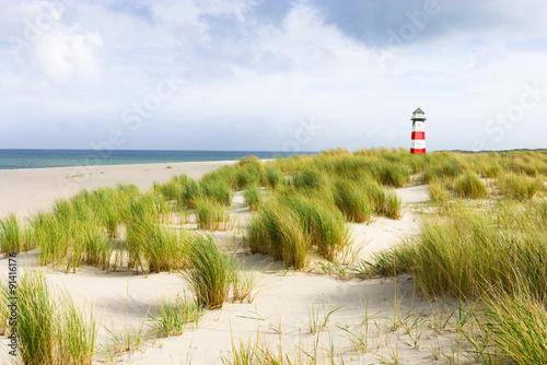 Spoed Foto op Canvas Noordzee Rot/Weißer Leuchtturm