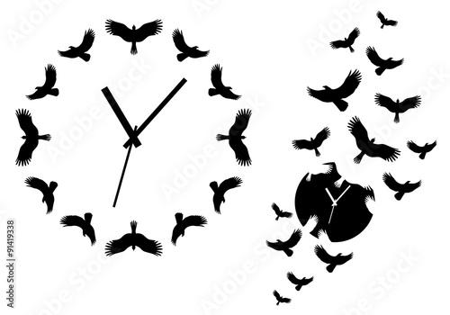 time flies, clock with flying birds, vector Wallpaper Mural