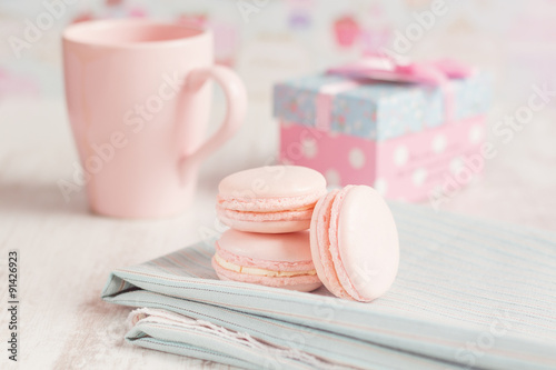 Romantic pink macarons