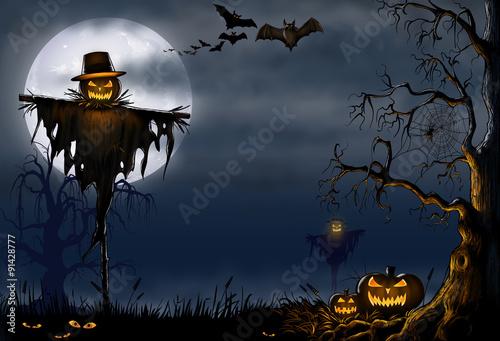 Spoed Fotobehang Halloween Creepy Halloween Scarecrow Scene - Digital Illustration