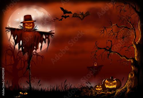 Spoed Fotobehang Halloween Creepy Scarecrow Halloween Scene - Digital Illustration