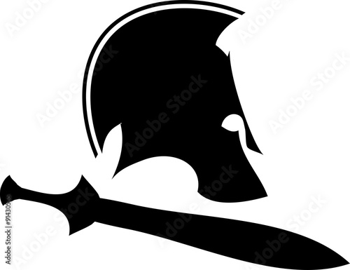 Photo  ancient helmet with sword 1. raster version