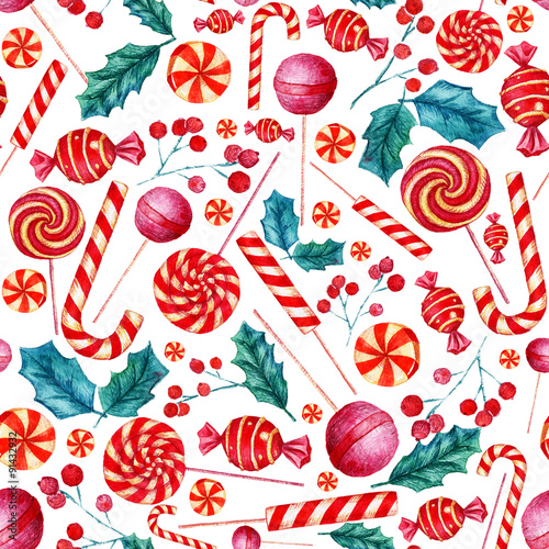 Cotton fabric Seamless pattern with candies. Christmas background. Watercolor illustration.